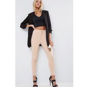 Asos High Waist Skinny Pants Nude 10
